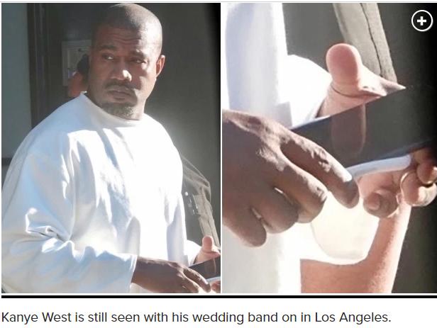 离婚?? Kanye West依然戴着婚戒