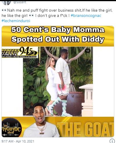 50 Cent看到Diddy和他孩子妈妈在一起的反应?