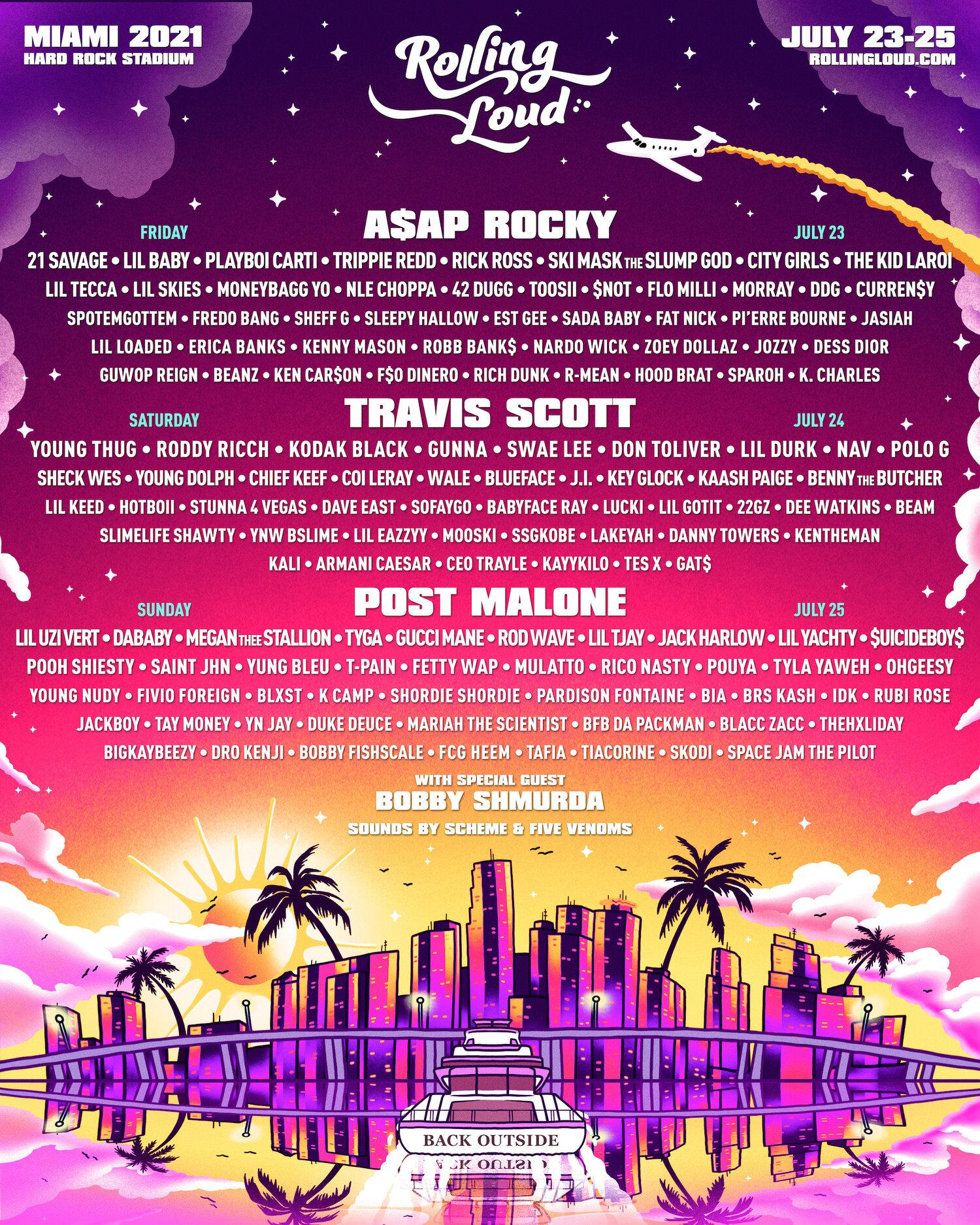 第一个大型的音乐节回归,Travis Scott, Post Malone, A$AP Rocky将领衔表演阵容