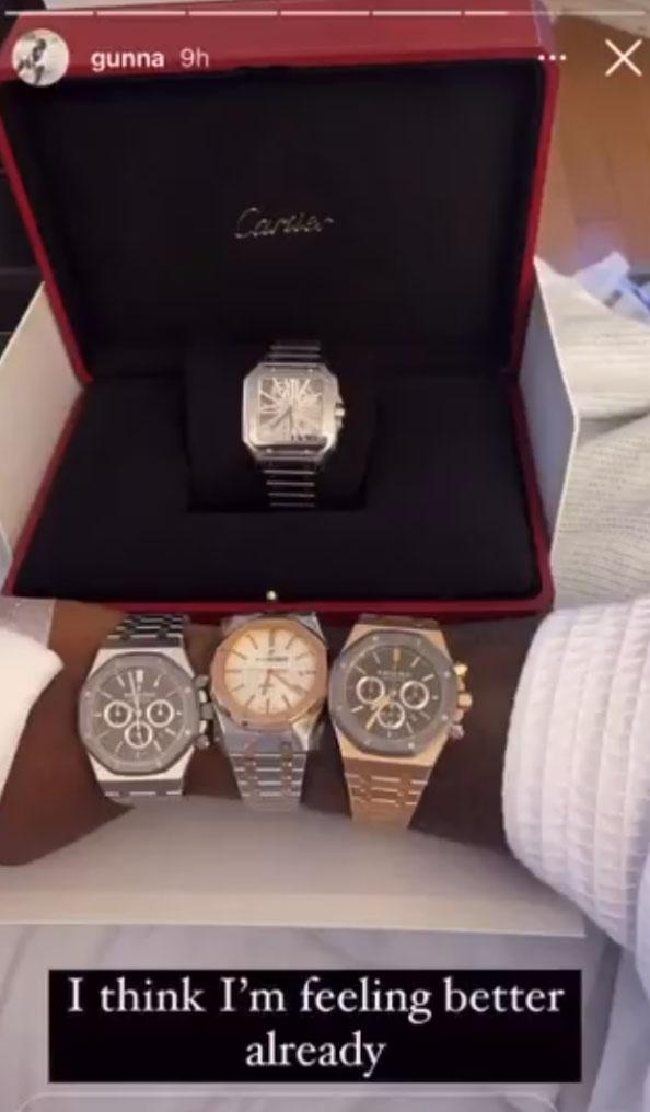 Young Thug给住院的好兄弟Gunna送了4个手表