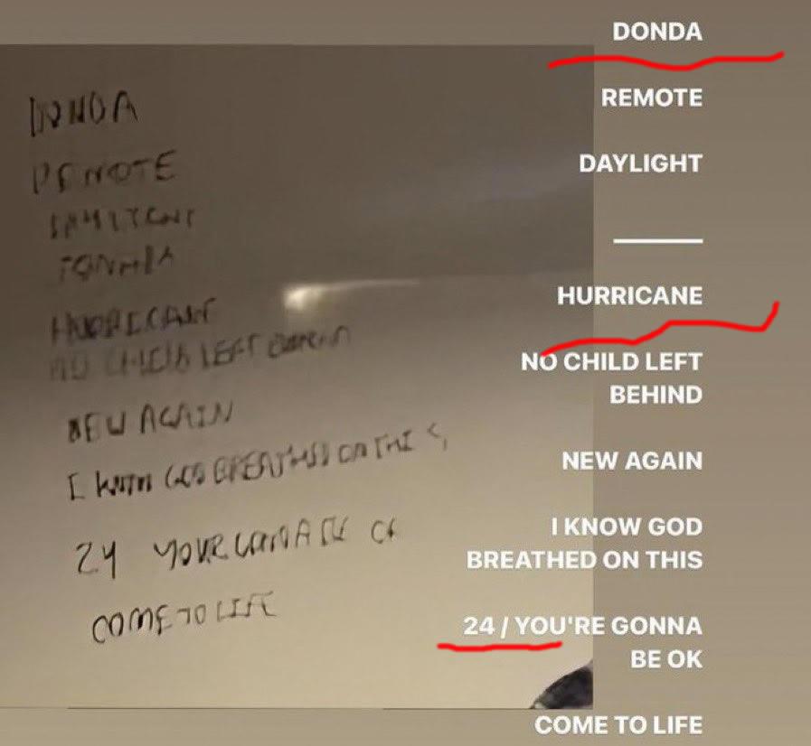 Kanye West新专辑Donda歌曲名单不小心泄漏