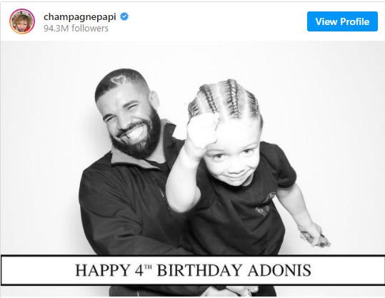 Drake庆祝儿子Adonis 4岁生日